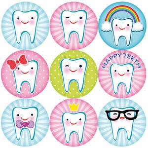 144-DENTI-felici-30mm-Adesivi-Ricompensa-per-bambini-per-gli-insegnanti-dentista-i-genitori