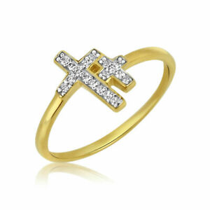 Goldring-Gold-585-Massiv-Gelbgold-14K-Damen-Ring-Kreuz-Ring-Bandring-Gr-48-60