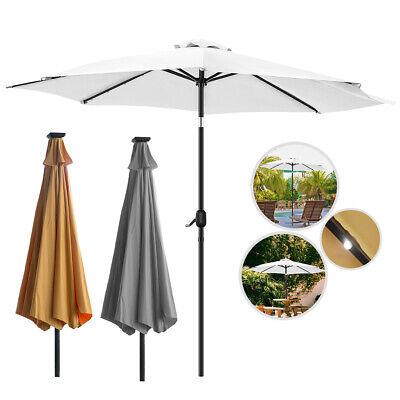 3M Sonnenschirm Ampelschirm mit LED Marktschirm Kurbelschirm Gartenschirm  300cm