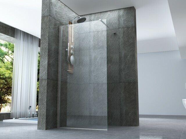 Mampara de ducha vidrio trasparente 8 mm - 1 lado - WALK IN Abierto - H 200 cm