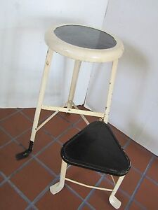 Image Is Loading Industrial Age Metal Stool SWIVEL STEP SEAT Chair