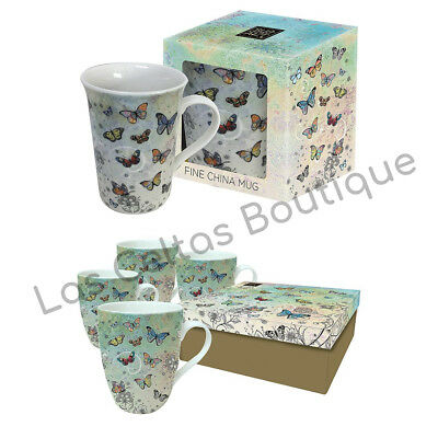 Boîte Cadeau Simple//Set de 4 Tall Fine China Bug Art Chat Design tasses assorties