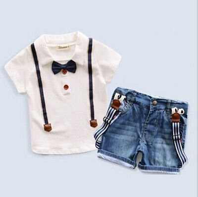 Kids Baby Girls Short Sleeve Tops Denim Short Pants Headband Outfit Clothes Set