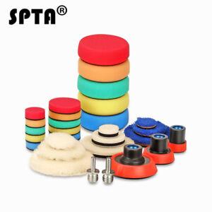 SPTA-Drill-Buffing-Pads-Car-Polishing-Pads-Wool-Waxing-Pad-Backing-Plate-29Pcs