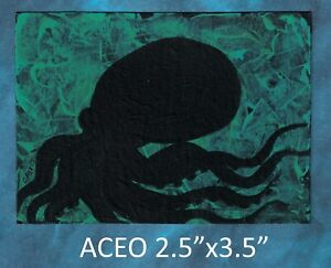 Original-ACEO-Octopus-miniature-acrylic-painting-not-framed