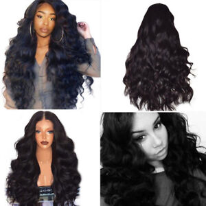 Black-Curly-Wavy-Wig-Brazilian-Remy-Human-Hair-Body-Wave-No-Lace-Front-Hair-Wigs