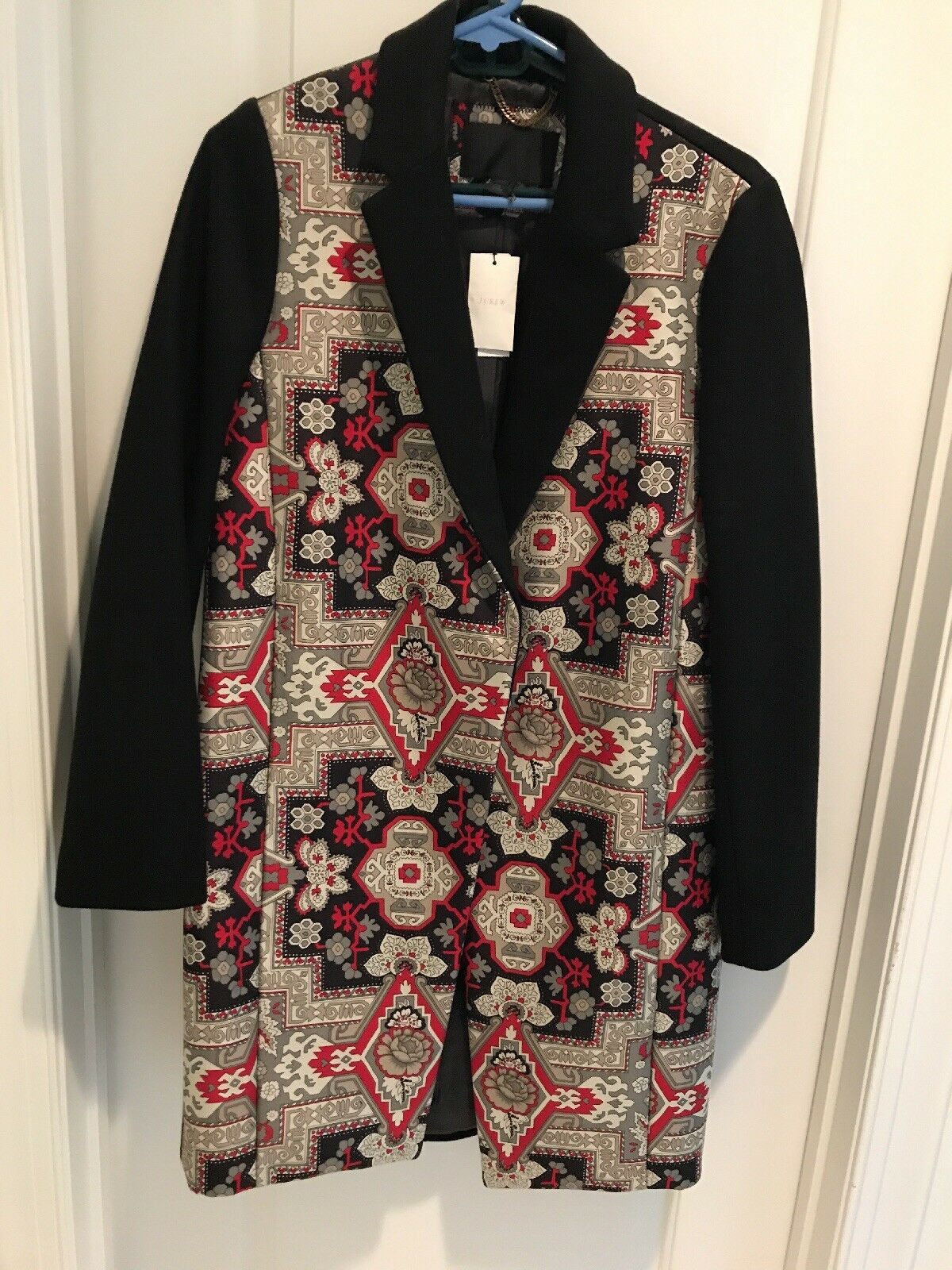 NWT J.CREW COLLECTION TOPCOAT IN TAPESTRY PRINT SIZE 10. FINAL PRICE NO OFFERS