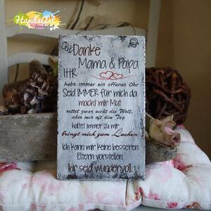 shabby style danke mama papa ich holzschild geschenk deko handsart ebay. Black Bedroom Furniture Sets. Home Design Ideas