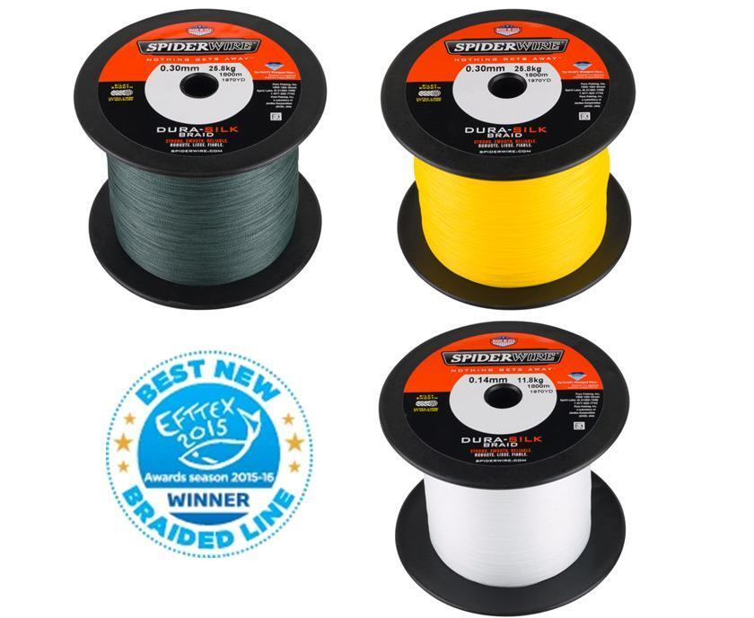 SPIDERWIRE DURA-SILK 1800m Big Spools - All Sizes - Yellow, Green