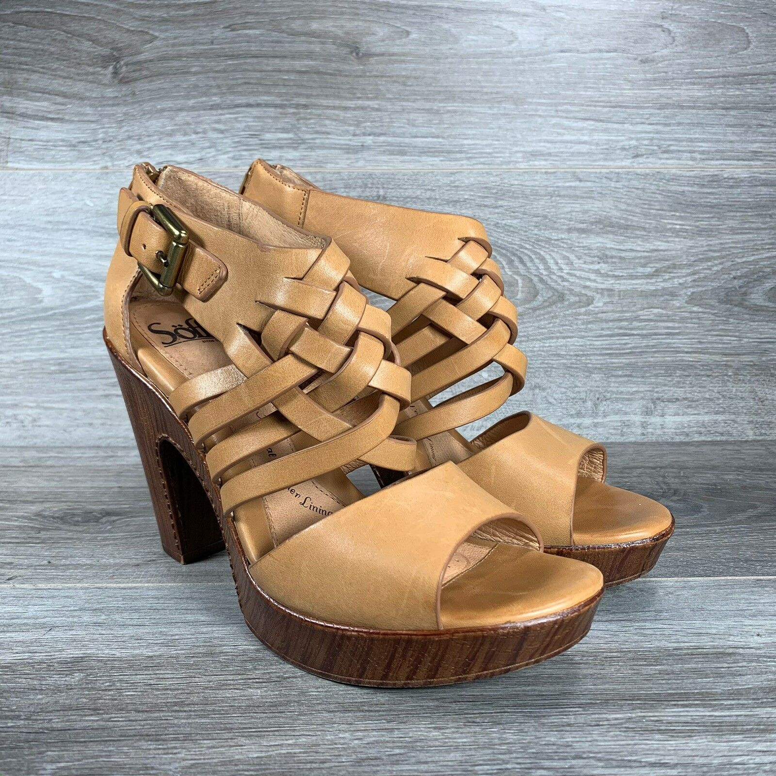 Sofft Ohanna Open Toe Gladiator Platform Heels Sandals Leather Tan Brown Sz 8 39