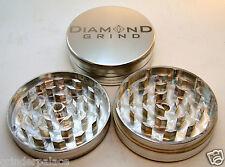 "CLASSIC DIAMOND GRIND 2.25"" Aluminum 2 piece herb Grinder 56mm SILVER"