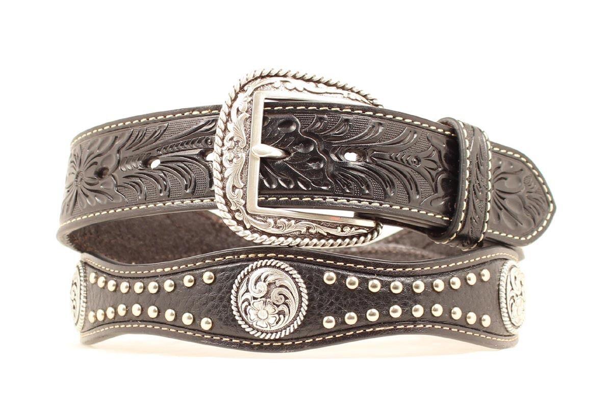 Ariat - Jakobsmuschel Leder ~Silber Schnalle~ Man Western Gürtel Cowboy A10116
