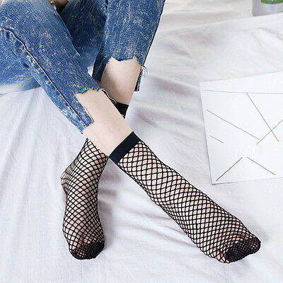 Fashion Women Ruffle Fishnet Ankle High Socks Mesh Lace Fish Net Short Socks New