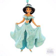 Authentic Disney Parks Princess Jasmine Glitter Dress Christmas Ornament