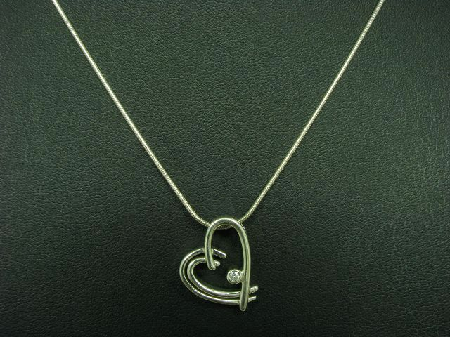 925 Sterling silver Kette & Anhänger mit Zirkonia Besatz   Herz   42,5cm   8,4g