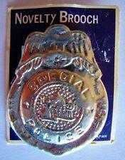 Vintage Old Novelty Brooch Special Police Badge Tin Toy Japan on Original Card