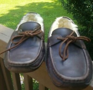 97b2ce13045 Details about UGG Australia S/N 5161 Byron Brown Leather Sheepskin Driving  Moccasins Men's 8