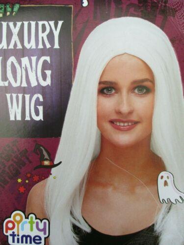 LONG WHITE WIG MRS XMAS SANTA LONG WHITE ANGEL WIG FESTIVE WIG ANGEL