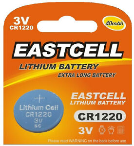 1-x-CR1220-3V-Lithium-Knopfzelle-40-mAh-1-Blistercard-a-1-Batterie-EASTCELL