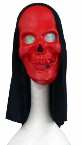 Hooded Red Skull Mask with Hologram Eyes New Adult Costume Accessory