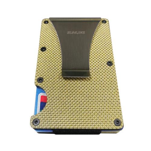 RFID Blocking Carbon Fiber Minimalist Ridge Money Clip Front Pocket Mens Wallet