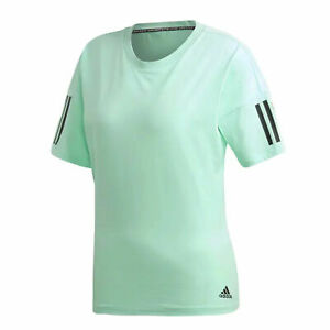 Details about Adidas Womens Must Haves 3 Stripe Casual Running T-Shirt Mint DX2534
