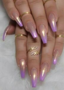 pink french tip ballerina long coffin press on nails fake