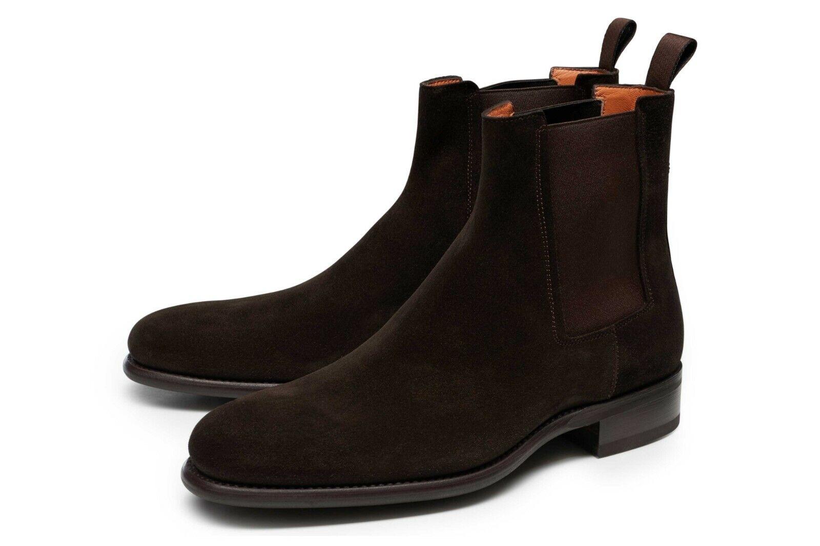 Santoni 44 10 Chelsea Stiefel Wildleder braun Schuhe Stiefel 619,-- EUR