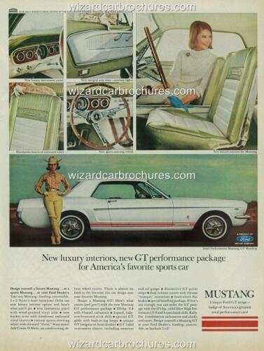 1965 FORD MUSTANG GT OPTION A3 POSTER AD SALES BROCHURE ADVERTISEMENT ADVERT