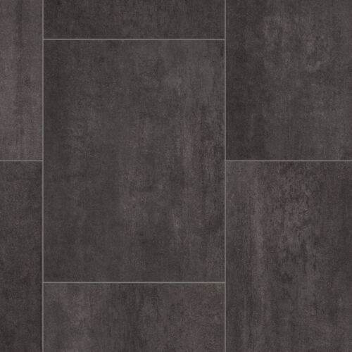 STUNNING 4mm Thick Black Grey Tile Effect Vinyl Flooring 4m Wide £9.99Sqm