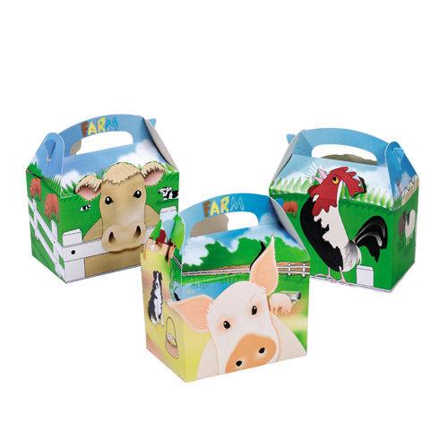 10 boîtes animaux de ferme cour ~ pique-nique Transporter Repas Nourriture Butin Fête D/'Anniversaire Sac Case