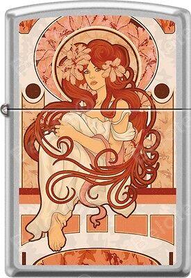 Zippo Nouveau Woman Red Long Hair Alphonse Mucha Style Street Chrome Lighter