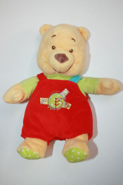 RARE DOUDOU PELUCHE OURS WINNIE SALOPETTE ROUGE PULL VERT DISNEY BABY