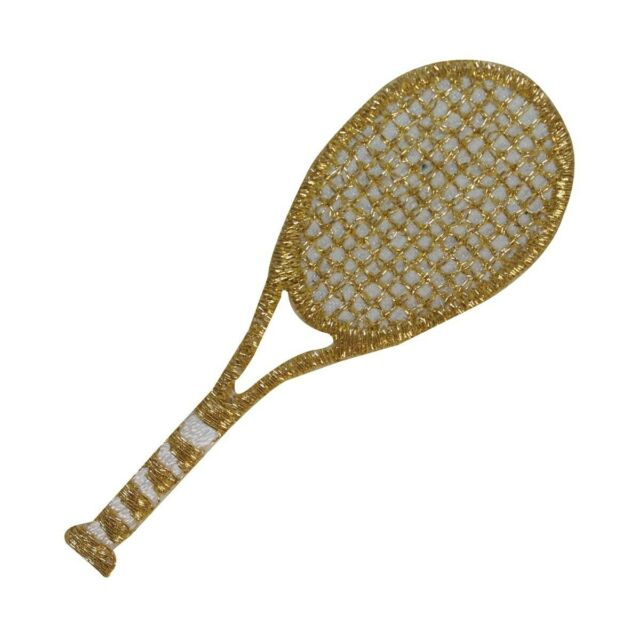 """Tennis Racquets 1 1//2/"""" Gold Metallic Sports Iron On Embroidered Patch"""