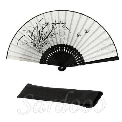 Chinesische Seide Moderne Flatfächer Mit Tuchmalerei Handfächer Klappfächer Grau