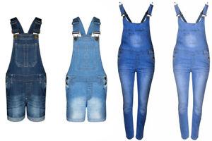 1ed3140d23e New Girls Kids Blue Denim Cotton Dungarees Jumpsuit Short Full Skirt ...