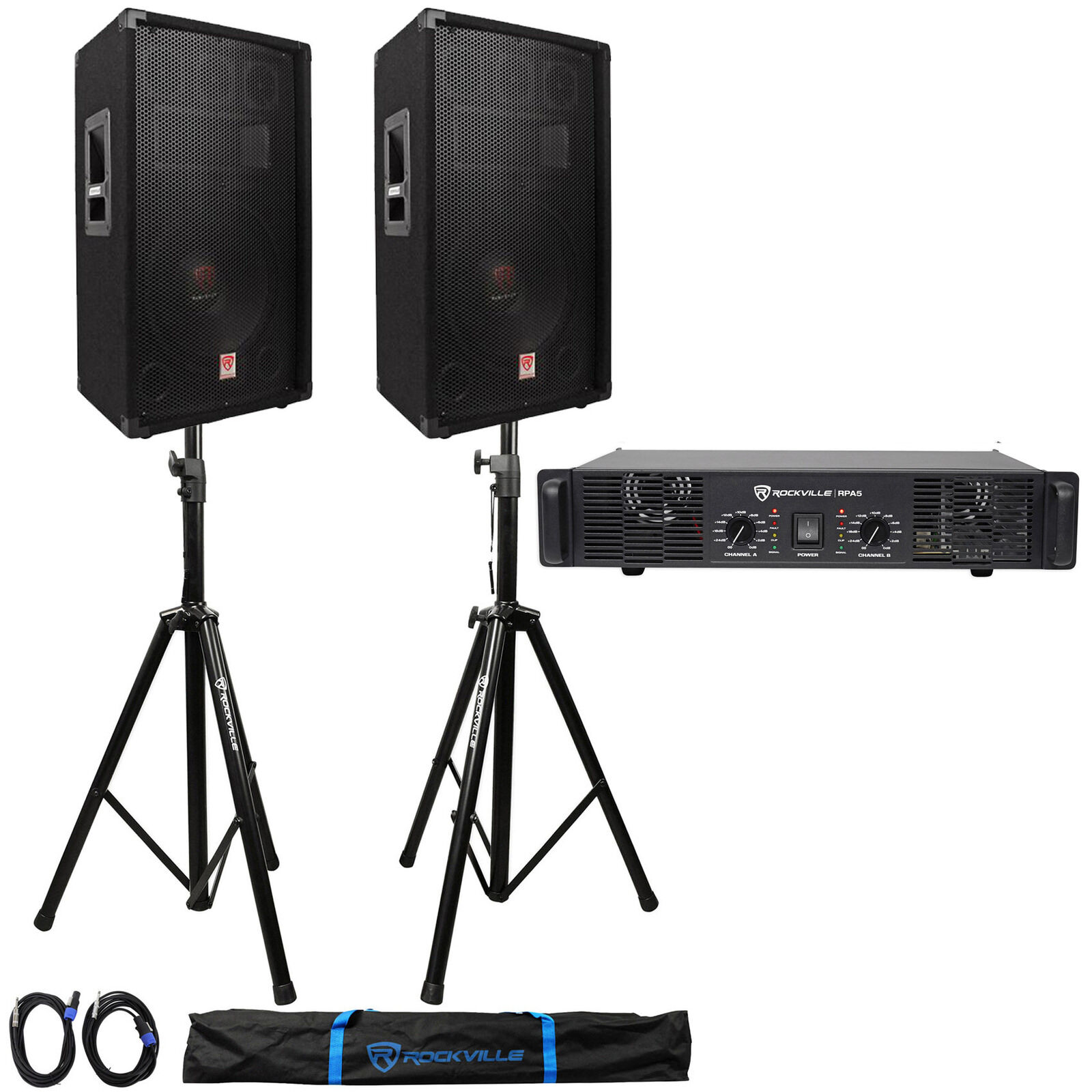 2 Altavoces DJ Rockville RSG12.4 12    1000w +RPA5 1000w Amplificador + soportes + cables + Bolsa 429106