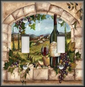 Metal-Light-Switch-Plate-Cover-Tuscan-Kitchen-Decor-Wine-And-Grapes-Decor-Wine