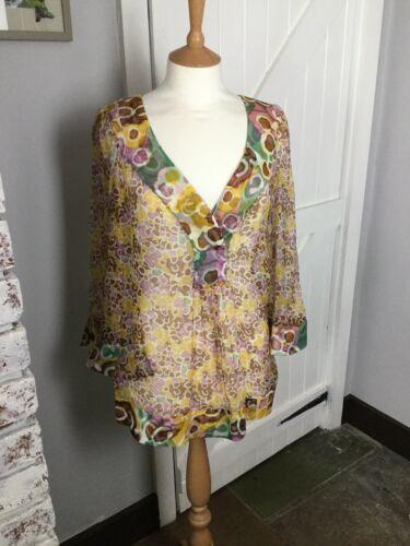 Silk Sheer m Dvf Ex Style Uk S Top Condition Kaftan Print 5S7xqw87