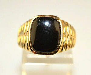 a30a93148eb5d Details about MEN'S VINTAGE 14K GOLD ONYX RING WITH RIDGED SIDES SIZE 8  FROM CANADA 6.3 GRAMS