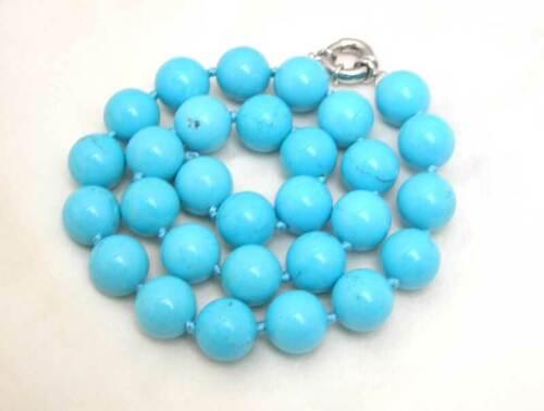 """10 Mm Bleu Rond Naturel Turquoise Collier Pour Femmes 18/"""" les colliers bijoux 5115"""