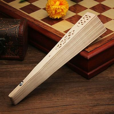 Flower Fragrant Wedding Hollow Carved Wooden Folding Fan Bamboo Chinese Style