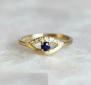 1-6ct-Round-Cut-Blue-Sapphire-Engagement-Ring-14k-Yellow-Gold-Over-Unique-Design