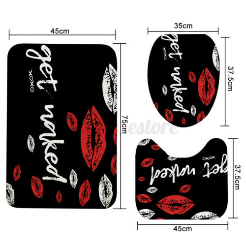 Red Funny Kiss Waterproof Bathroom Shower Curtain Lid Toilet Cover Mat Rug Set