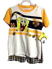 NICKELODEON Boy's Sz 6 SPONGEBOB T-Shirt and Plaid Shorts Set Cotton Blend