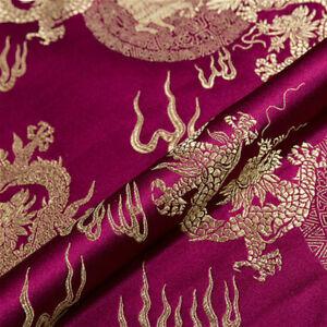 Chinese-Brocade-Fabric-Dragon-Design-Costume-DIY-Silky-Satin-Retro-1M-Cloth-Soft