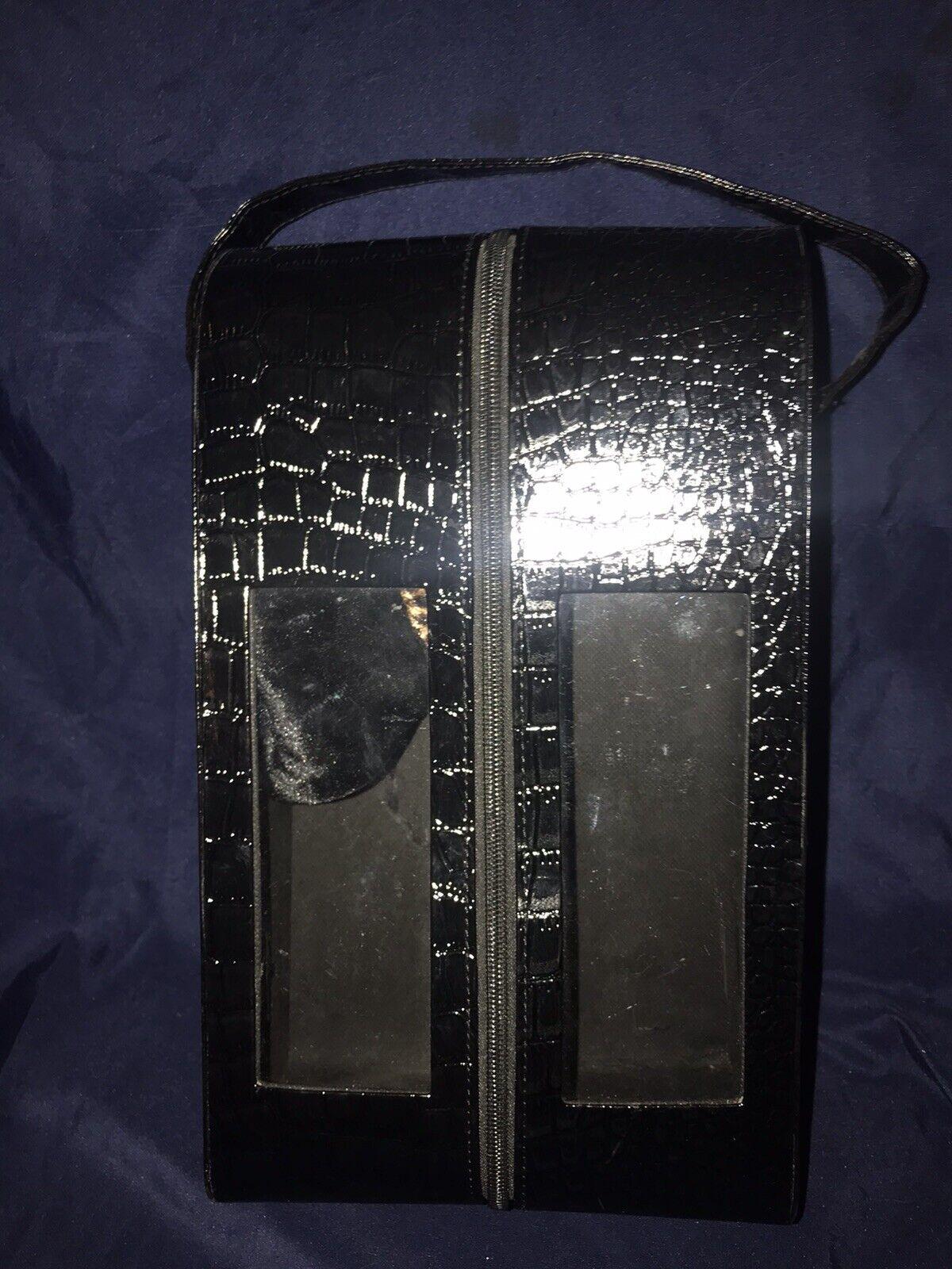 """Shoe Carrier Holder Travel Case Plus Velvet Sock Bag 13"""" X 7 1/2"""" Black"""