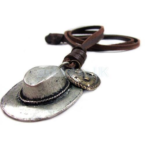 Mens Vintage Cowboy Hat Cross Heart Charm Pendant Leather Cord Necklace Punk