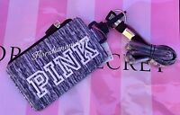 Victoria's Secret Pink Wallet Id Case Holder Lanyard Marl Gray Dog Logo