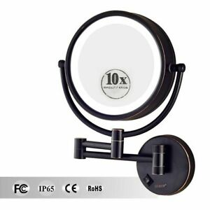 Large Led Lighted 10x Magnifying Makeup Mirror Hardwire Wall Mounted Oil Bronze